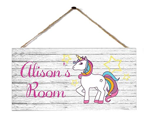 WEIMEILD Personalized Kids Baby Room Door Sign/Name Plate/Wall Plaque -Unicorn Sign Unicorn and Stars Sign Personalized Sign Kid