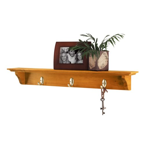 9230 Yorkshire Wall Shelf with Hooks, 30-Inch, Oak ()