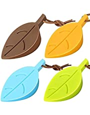 Silicone Door Stoppers Set - Leaf Style Rubber Stoppers Door Stopper Wedge Finger Protector Cute Door Stoppers with Holders Silicone Window/Door Stops Baby Door Stopper