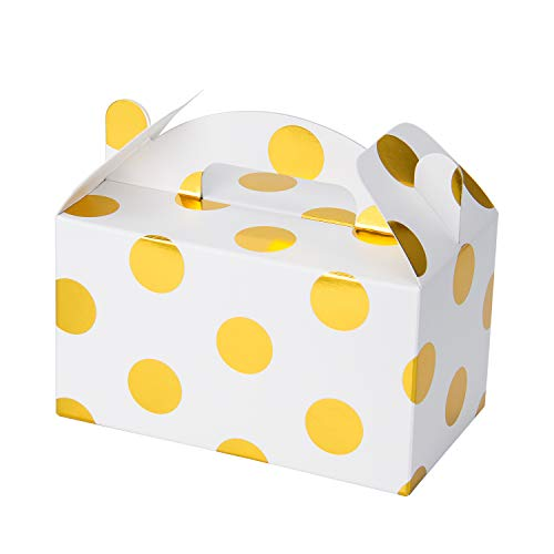 (WRAPAHOLIC 36 Pack Gold Treat Boxes - Gold Foil Polka Dot Party Favor Box with Black Label Chalkboard Vinyl Stickers for Birthday, Wedding, Baby Shower, Candy)