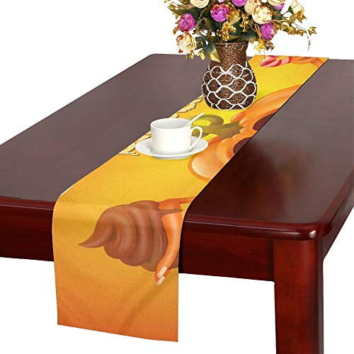 Happy Halloween Concept Card Pumpkin Trick Table Runner, Kitchen Dining Table Runner 16 X 72 Inch for Dinner Parties, Events, Decor