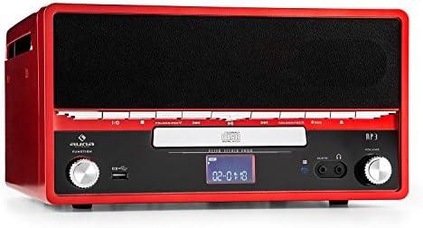 Auna RTT 1922 Cadena estéreo Retro con Tocadiscos (Reproductor CD ...