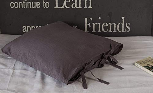 Dark Grey Linen Pillow Sham with Two Bow Ties - Standard - 20