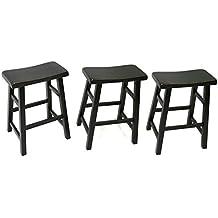 "24"" Heavy Duty Saddle Seat Barstool in Antique Black, Set of 3"