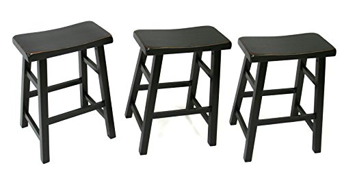 "eHemco 24"" Heavy Duty Saddle Seat Barstool in Antique Black, Set of 3"