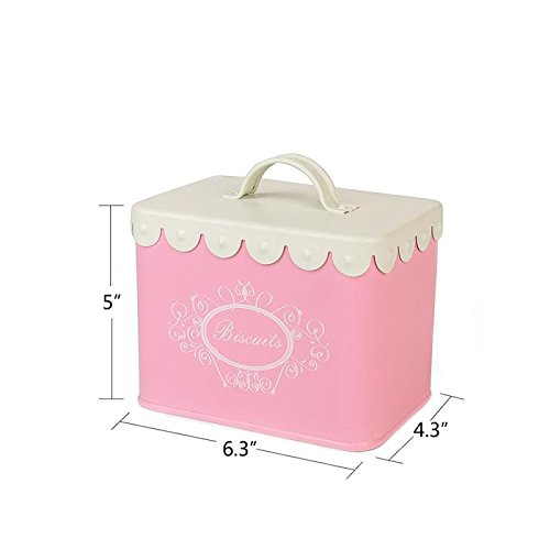 Hot Sale X829 Pink Kits Square Metal Mini biscuit tin canister/cookie storage tins/Container/Home Kitchen Gifts with Handle ()