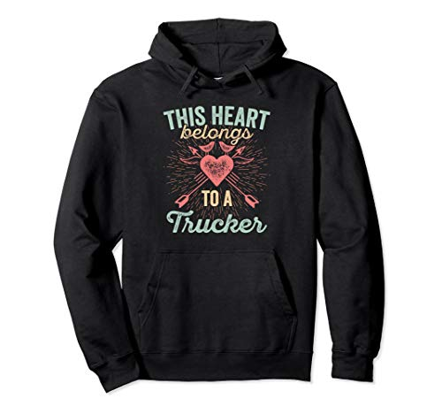 Valentine's Day Trucker Hoodie for Semi Truck Driver's Wife