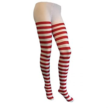 4a327c9a983a4 Fancy Dress Tights Lingerie Red And White Stripe Adult Size: Amazon ...