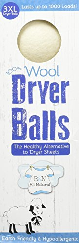 B&N All Natural Daisy's Wool Laundry Dryer Balls, 3 Count