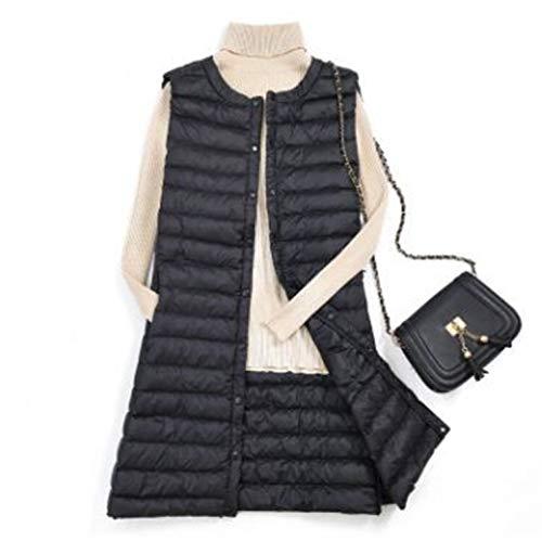 Okayit Donna Vest Caldo Femminile Black Coperto Plus Lungo Size Leggero Pulsante Inverno 3xl Taglia Antivento Gilet Autunno Maniche M Senza rrF1fnR