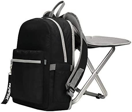 PORTAL Lightweight Backrest Stool Compact Folding Chair Seat with Cooler Bag for Fishing, Camping, Hiking, Supports 225 lbs