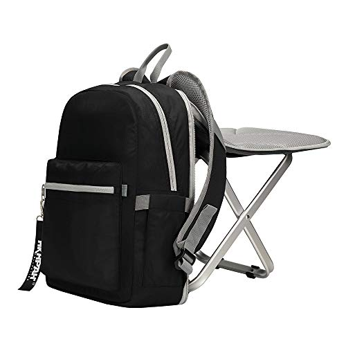 BigTron Ultralight Backpack Stool Combo - Compact Lightweight Backpack and Portable Folding Cooler Chair- Perfect for Camping Fishing Hiking Picnic Outdoor Watching Sports Events BBQ, Black ()