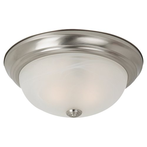 Sea Gull Lighting 75940-962 Flush Mount with Alabaster Glass Shades, Brushed Nickel Finish ()