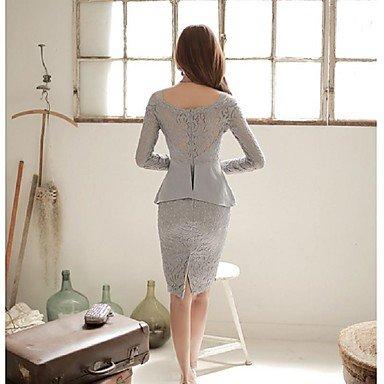 PU&PU Robe Aux femmes Gaine Simple,Couleur Pleine Col en U Mi-long Polyester , light blue , l
