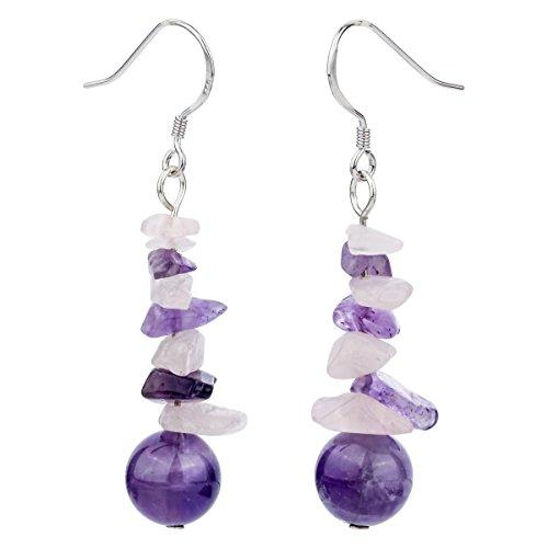 Earrings Amethyst Hook Drop (YACQ 925 Sterling Silver Natural Amethyst Rose Quartz Handcrafted Birthstone Jewelry Dangle Drop Earrings for Women)