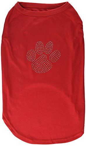 Mirage Pet Products Clear Rhinestone Paw Shirt, 3X-Large, Red