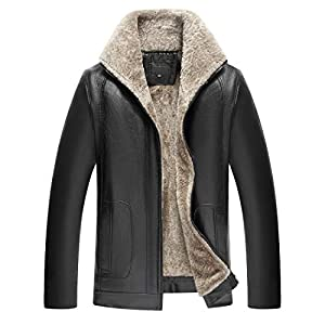 LIERDAR Fur Lined Faux Leather Jacket Winter Thicken Coat Outwear