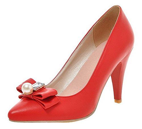AllhqFashion Womens High-Heels PU Solid Closed-Toe Pumps-Shoes Red Dc7tfCbj