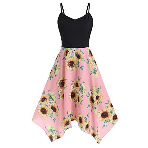 Cedguyi Women's Vintage Dress,Plus Size Sunflower Print Asymmetric Camis Handkerchief Dress S-5XL Black