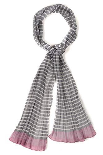 (Ulla Popken Women's Plus Size Long Crinkle Grey Stripe Scarf Grey Stripe 1Size 717387 45)