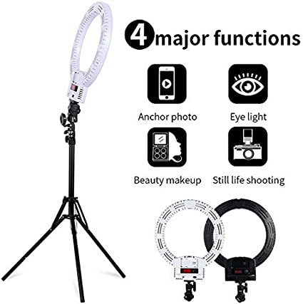 HELLOLAND 12 LED Ring Lights and 2m Light Stands for YouTube Vlog Makeup Studio Video Shooting Salon Photography White