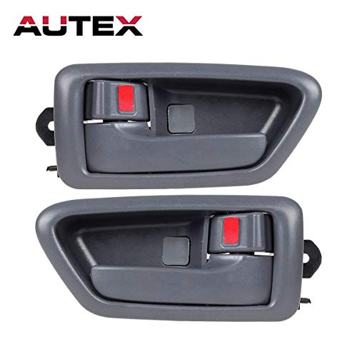 (AUTEX 2 Pcs Gray Interior Front/Rear Left Right Side Door Handle Driver Passenger Side Compatible with Toyota Camry 1997 1998 1999 2000 2001 Door Handle 91002 91006 91003 91007 6927733020B0)