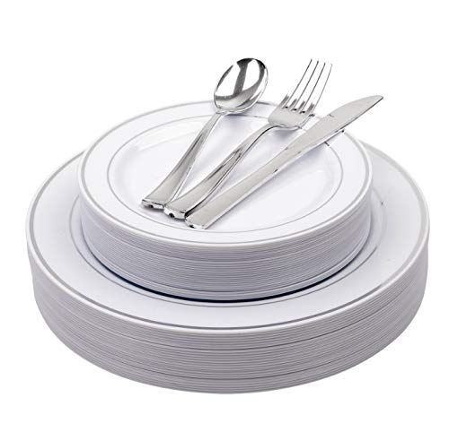 (25 Heavyweight Elegant Plastic Disposable Place Settings: 25 Dinner Plates, 25 Salad or Dessert Plates & 25 Polished Silver Plastic Forks Knives & Spoons)