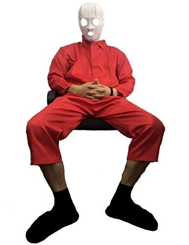 2019 Adelaide Cosplay us red Jumpsuit Horror Costume Unlined Coverall Liverpool Zipper Boilersuit Horror mask Halloween Accessories (XXL)
