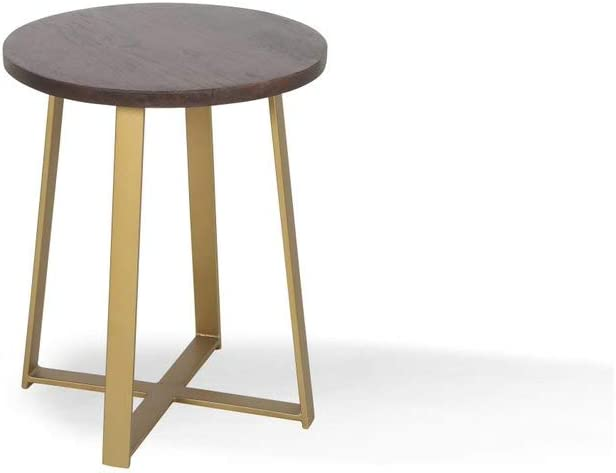 Alveare Home Paige Round Side Table, Dark MED Tone