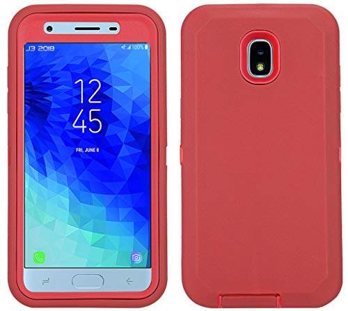 Annymall Galaxy J3 2018 Case, Heavy Duty Shockproof Defender Armor Protective Cover with Built-in Screen Protector for Samsung J3 2018/ Galaxy Amp Prime 3/ J3 Achieve/ J3 Star/ J3V (2018) (Red/red)