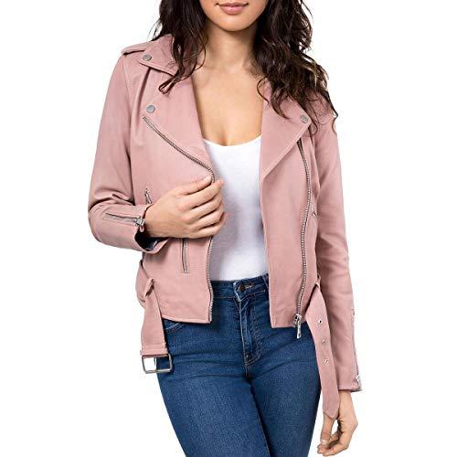 Bagatelle Women's Washed Leather Biker Jacket, Nude, Medium ()