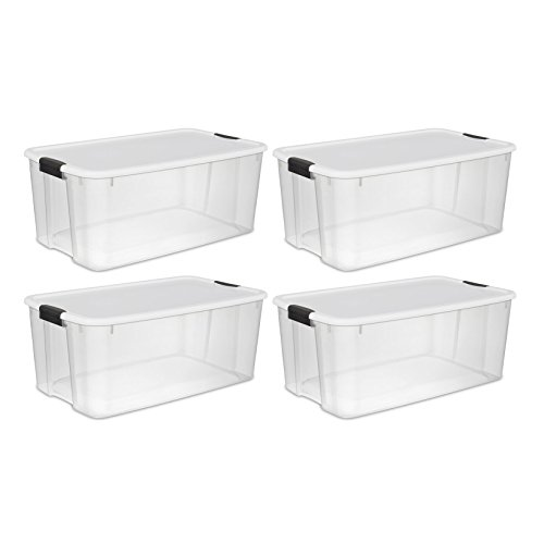 STERILITE 19909804 116 Quart/110 Liter Ultra Latch Box, Clear with a White Lid and Black Latches, - 30 Gallon Containers Storage