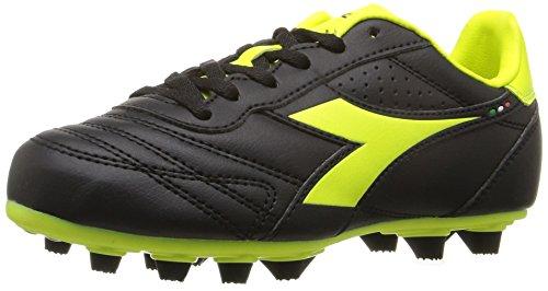 Diadora Soccer Unisex-Kids Brasil R MD PU Jr Sneaker, Black/Flou Yellow, 1.5 Medium US Little Kid