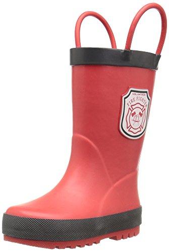 Toddler/Little Kid), Light Red/Black, 7 M US Toddler (Fireman Rain Boots)