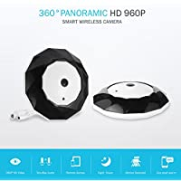 SANNCE 2 Pack Fisheye 360 Degree HD Wireless WIFI IP Hidden Panoramic Camera Spy Cam 960P HD Lamp Indoor Home Security Surveillance for iPhone Android PC