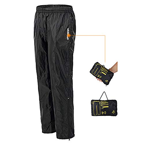 REDCAMP Unisex Rain Pants Waterproof Lightweight with Side Zipper, PU3000mm Great for Hiking Outdoor, Black XL