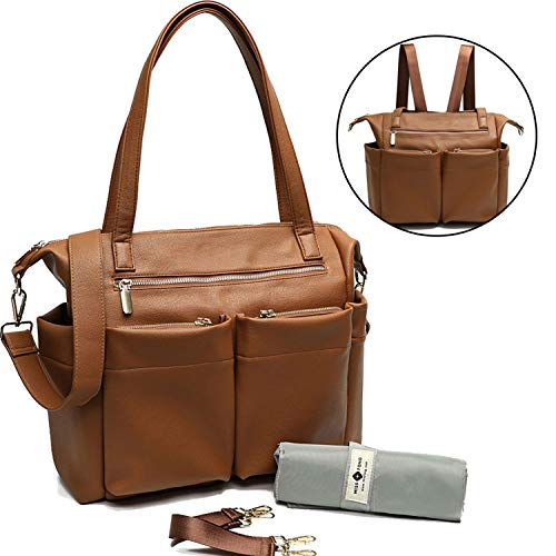 18k Designer Cross - Leather Diaper Bag Backpack By Miss Fong, Baby Bag, Diaper Bag Tote With Changing Pad, In Bag Organizer, Stroller Straps, Insulated Pockets and Shoulder Strap (Brown)