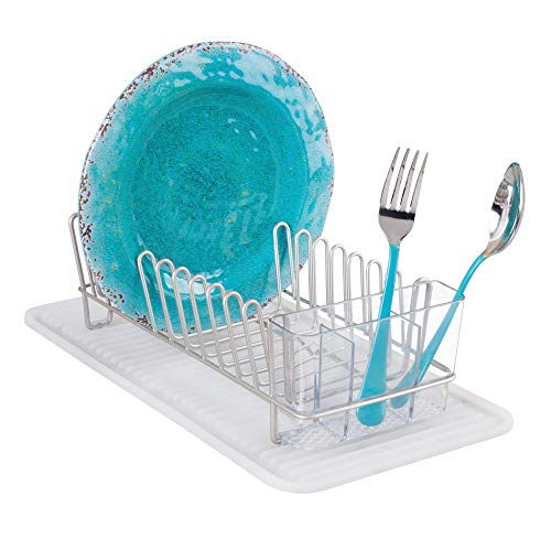 mDesign Compact Kitchen Countertop, Sink Dish Drying Rack an