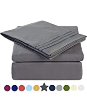 TEKAMON Super Soft 4 Piece Bed Sheet Set 1800 Thread Count Bedding Set 100% Microfiber Polyester - Breathable, Hypoallergenic, Warm, Silky-smooth, Cooling, Wrinkle and Fade Resistant - 10-16'' Extra Deep Pockets