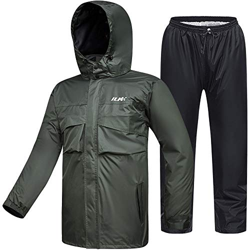 ILM Motorcycle Rain Suit Waterproof Wear Resistant 6 Pockets 2 Piece Set with Jacket and Pants Fits Men Women (Men's Large, Army Green)