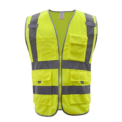Multi bolsillos sin mangas chaleco de cierre frontal de seguridad reflectante de alta visibilidad con tiras de reflecive ANSI...