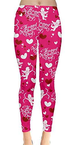 (CowCow Womens Love Godness Pink Valentines Leggings, Pink Heart - M)