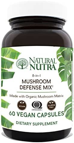 Natural Nutra Mushroom Defense Mix Immune Support Supplement, Made with Organic Blend of Reishi, Cordyceps, Lions Mane, Maitake, Turkey Tail Extract, 60 Capsules