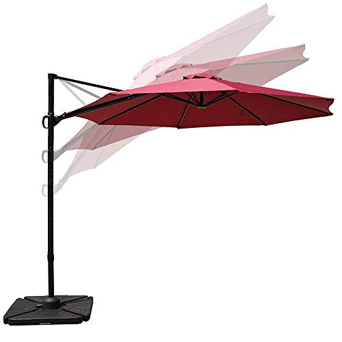 Aluminum Tilt Offset Umbrella - COBANA 10ft Cantilever Offset Patio Umbrella with Vertical Tilt and 360 Degree Rotation Function, Burgundy