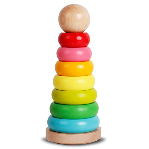 Wooden Rainbow Tower Stacking Ring Blocks Educational Toys for Baby Kids Toddlers