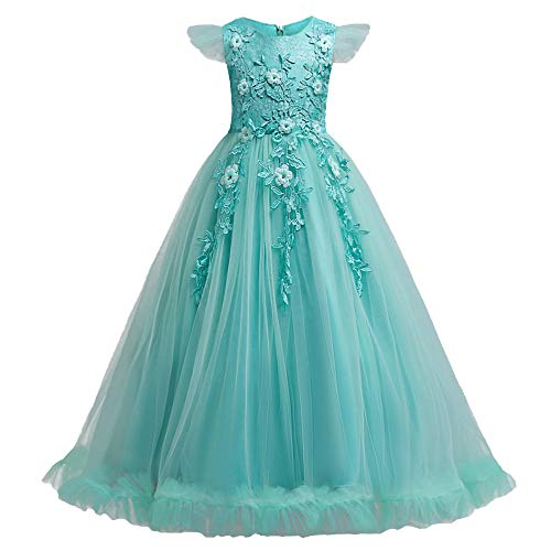 HUANQIUE Girls Pageant Party Long Dresses Flower Girl Wedding Dress Green 5-6 T