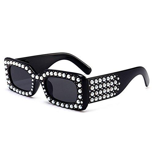 lunettes brillants cadre designer UV plage carrée cristal nouveauté femmes la strass été C1 pour forme Petite Couleur perle nuances plein conduite Protection C1 soleil vacances de les pour la qz54wCTvz