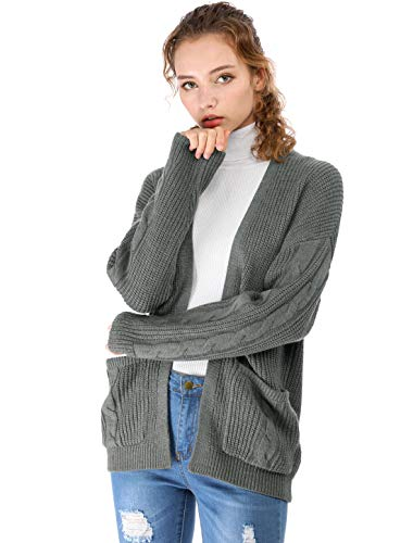 Punto Abierto Cardigan Bolsillo Para Mujer Gris Oscuro Suelto Casual De Frente K Cable Allegra HwYqzPRW