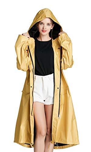 (Freesmily Women Long Raincoat Waterproof Rain Jacket with Hood Zipper and Pockets Outdoors (Yellow, M))