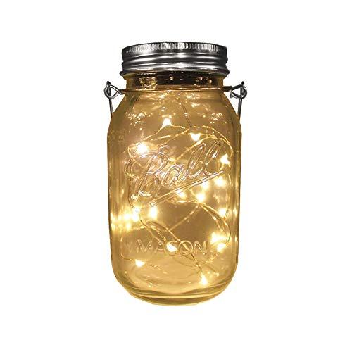 Solar-powered 32oz Mason Jar Warm White Lights (Jar/Handle Included),20 LEDs Large Jar Hanging Light/Lantern,Solar Garden Outdoor Decor,Patio Path Light, Rust-Proof, Waterproof ()
